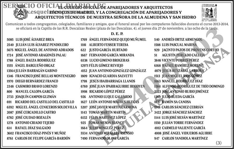 Colegio oficial de aparejadores y arquitectos t cnico de madrid esquelas en prensa - Colegio de aparejadores de tenerife ...