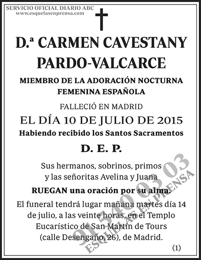 Carmen cavestany pardo valcarce esquelas en prensa - Carmen pardo valcarce ...