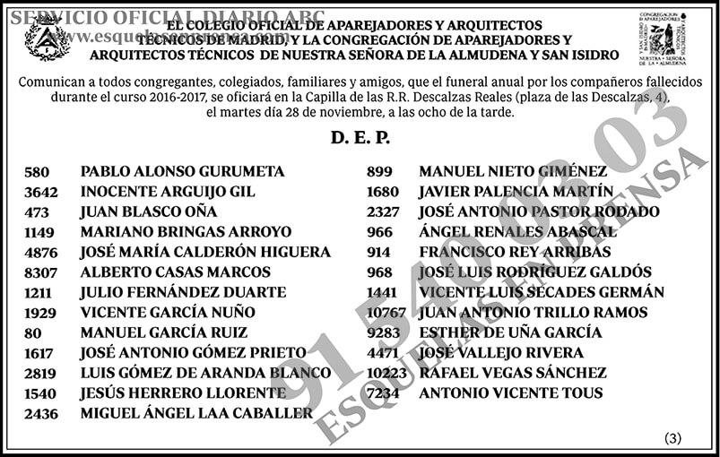Colegio oficial de aparejadores y arquitectos t cnicos de madrid esquelas en prensa - Colegio de aparejadores de tenerife ...