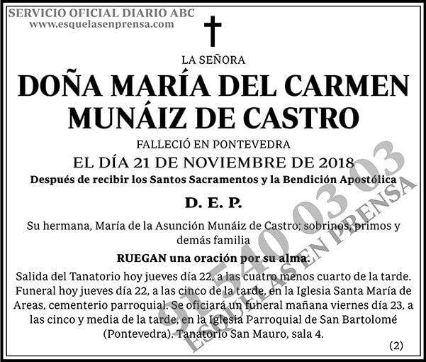 Mar a del carmen mu iz de castro esquelas abc - Maria del carmen castro ...